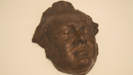 Schubert's life or death mask, cast-bronze by B. Diekmann