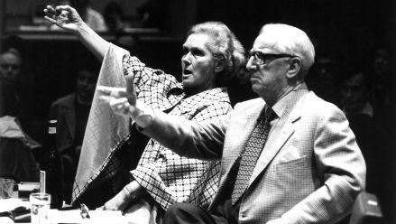 E. Schwarzkopf and W. Legge giving a master class