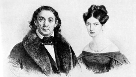 Salomon Sulzer mit seiner Frau Fanny (Lithografie von E. Kaiser)
