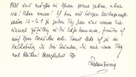 Original-Brief von Stefan Zweig