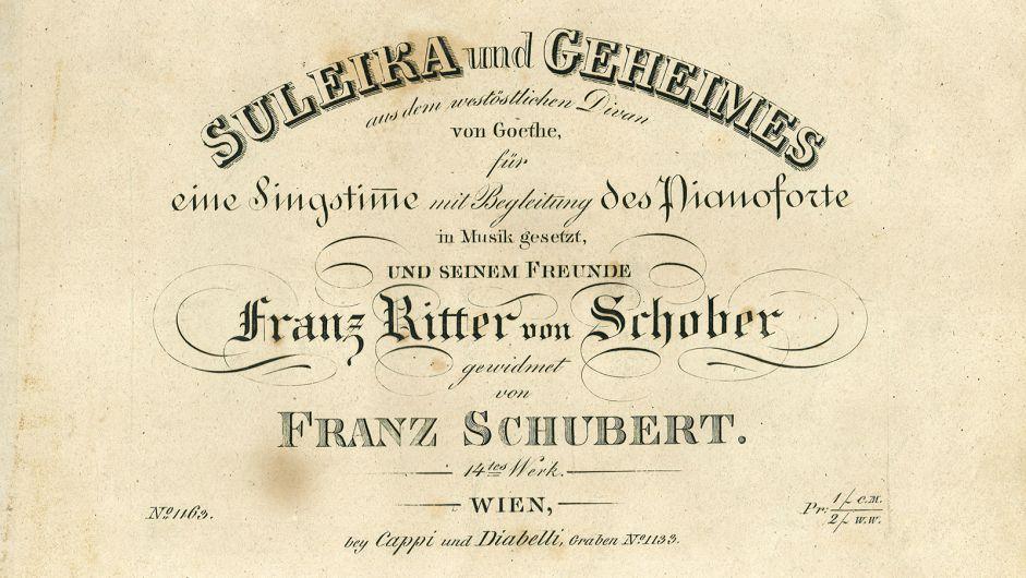 Titel page of Schubert's song volume op. 14 (»Suleika I«, »Geheimes«)